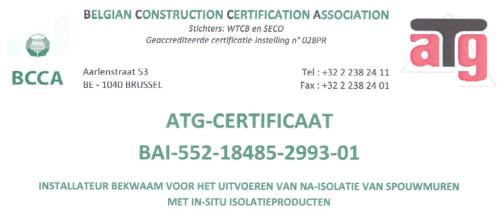 ATG certificaat voor na-isolatie van spouwmuren (spouwmuurisolatie)